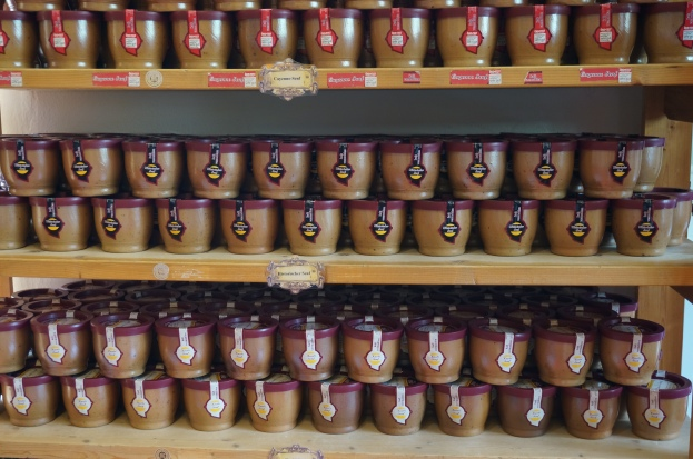 Stoneware mustard jars ready to go