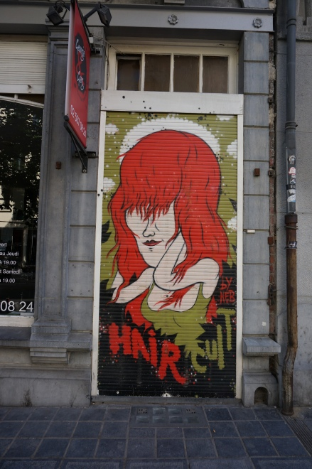 Door of a hair salon, St. Gilles