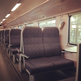 Comfortable 2nd class seating on Deutsche Bahn