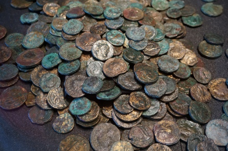 Piles of Roman coins