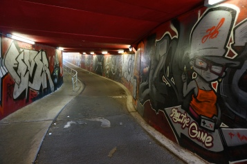 Riding through a bike tunnel in Maastricht
