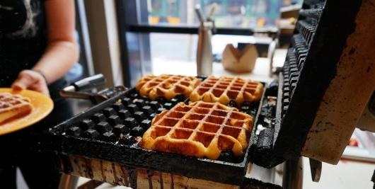 Fresh baked waffles at Sweet Iron