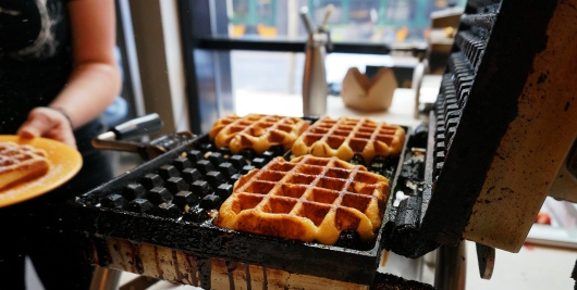 Fresh baked waffles at Sweet Iron