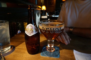 Enjoying an Orval at Brouwer's
