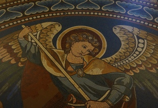 Floor mosaic depicting Archangel Michael