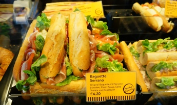 Fresh baguette sandwiches at Berlin Hauptbahnof