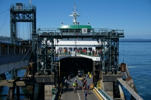 Bicycles disembarking at Colman ferry dock