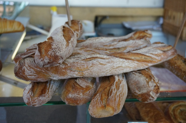 Fresh baguettes - a reward for arriving early.