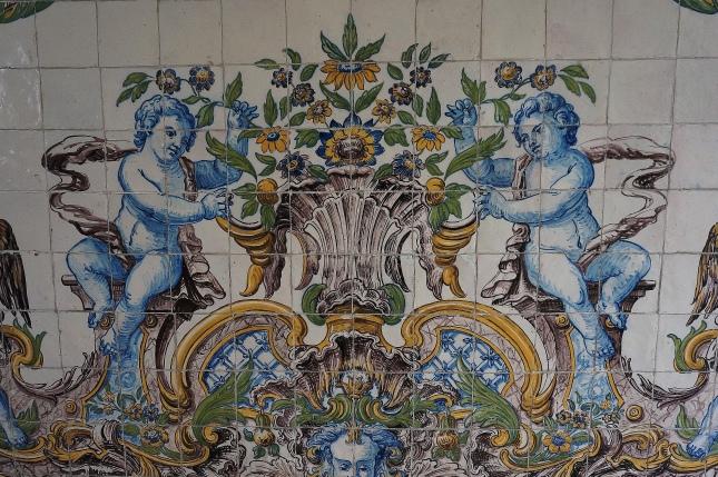Azulejo tiles in Sintra's train station