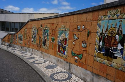 Colorful ceramic murals in the center of Aveiro