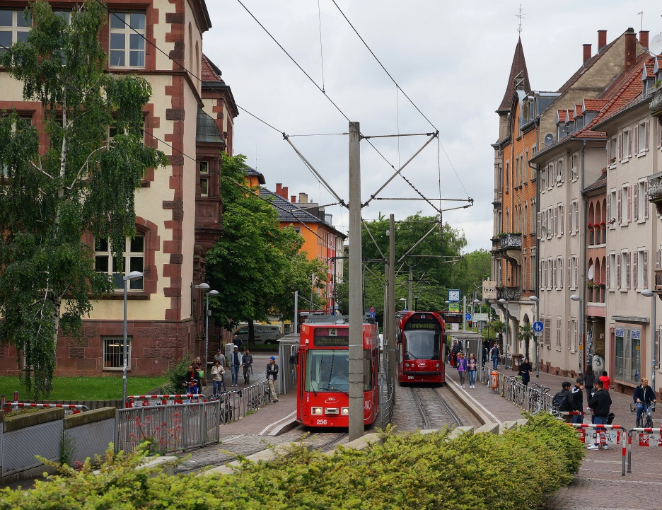Bikes, pedestrian and trams rule the streets here