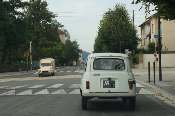 Vintage car crossing in Besancon