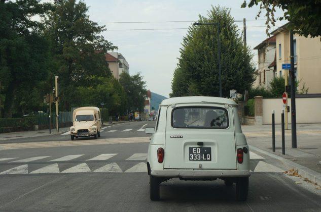 Vintage car crossing in Besancon