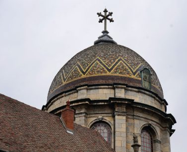 Mosaic tile dome of Chapelle Notre Dame du Refuge