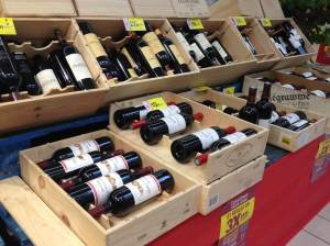 Shopping the annual wine fair  in France