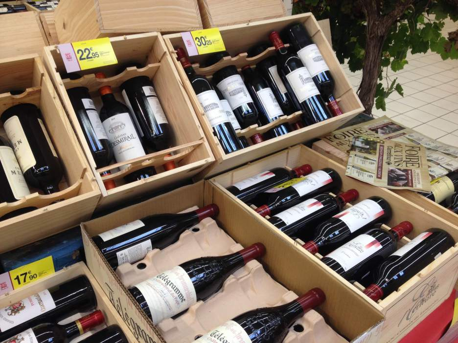 Bottles at all price points at the wine fair