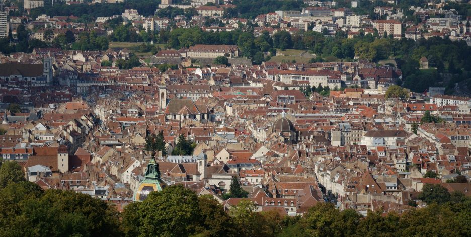 Besancon's historic city center, as seen from the Citadel