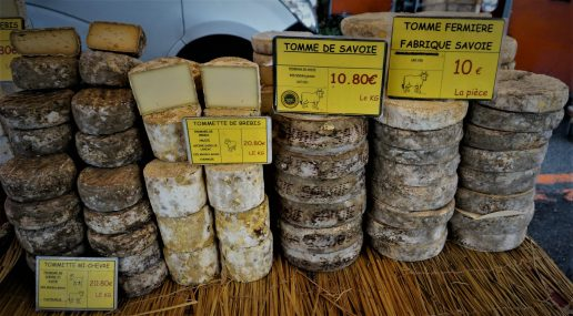 Tomme de Savoie, at the market in Thonon les Bains, France