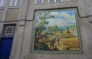 Tiled mural in Viana's city center